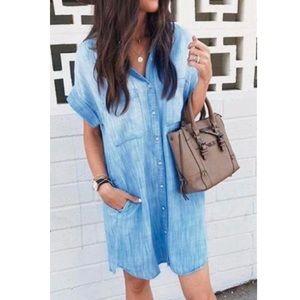 New Boutique S/S Denim Button Front Dress